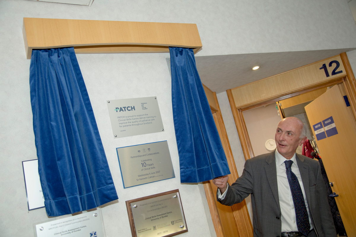The unveiling of a plaque to recognise a unique collaboration between the University of Dundee, the NHS, and PATCH.